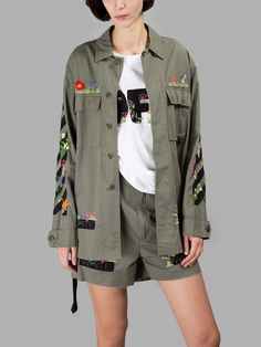 オフ・ホワイト(OFF-WHITE C/O VIRGIL ABLOH)ジャケット OFF-WHITE C/O VIRGIL ABLOH WOMEN'S MILITARY GREEN SAHARIANA JACKET