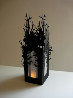 Halloween Luminaries Set of 2 Halloween Decorations - Haunted Forest Luminaries in Black