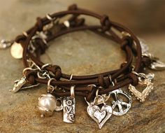 Leather Wrap and Charm Bracelet by cathydailey on Etsy, $319.00