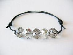 adjustable knot crystal grey bracelet