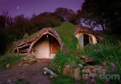 Hobbit house The hobbit house in Wales is a classic in alternative, low-impact housing projects. A sustainable eco-house built without any prior experience in carpentry or architecture. Casa Dos Hobbits, Architecture Organique, Sheltered Housing, Woodland House, Forest House, Forest Cottage, Cob Houses, Tiny Houses, Weird Houses