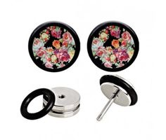 Royal Black Floral Fake Plugs