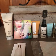 Lot of Beauty Products VS Dream Angels heavenly lotion 2.5 oz, hair chalk, Whish body butter .75 oz, Lumiere d'hiver Super comb prep and protect 1 oz, Tula exfoliating treatment mask 0.5 oz, CK eternity 0.5 oz, 9 black head masks, roll on perfume .33 oz, Bath and Bodyworks Beautiful Day body lotion 8 oz, Other