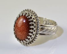 Goldstone Ring Sterling Silver Goldstone in Crown by ClosParra, $59.00