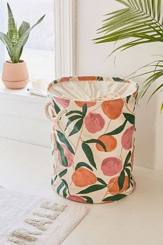 Slide View: Peaches Printed Canvas Laundry Bag from Urban Outfitters Living Room Designs, Living Room Decor, Bedroom Decor, Layout Design, Canvas Laundry Bag, Laundry Bags, Laundry Basket, Peach Rooms, Peach Bathroom