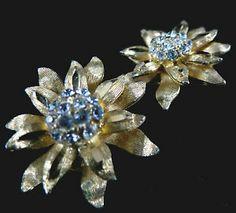 BSK Signed Earrings Vintage Gold Tone Rhinestone Clip Ons   eBay