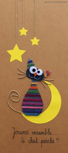 Jouons à chat perché ! I'd modify it a bit though Felt Crafts, Diy And Crafts, Crafts For Kids, Arts And Crafts, Paper Crafts, Diy Paper, Cat Cards, Kids Cards, Animal Cards