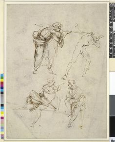 A man blowing a trumpet into the ear of a nude man, and two seated men Pen and brown ink, over stylus sketch