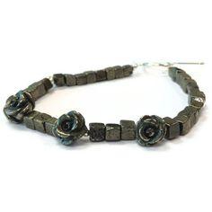 Pyrite Bracelet  Flower Jewelry  Sterling by jewelrybycarmal