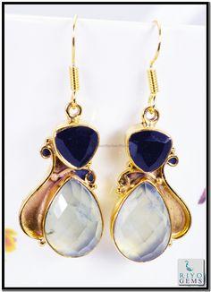 Emerlad Cz Crystal Gem 18kt Yellow Gold Plated Earrings L 1.5in Gpemul-5222 http://www.riyogems.com