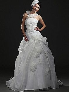 Floral Pick Up Organza and Satin Ball Gown with Appliqued Straps - USD $295.86