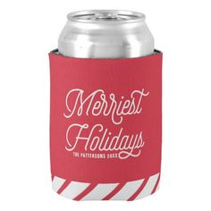Red The Merriest Holidays Christmas Can Coolers II - red gifts color style cyo diy personalize unique