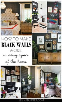 Black is bold. Black is neutral. HOW TO MAKE BLACK WALLS WORK in every space of the home. Inspirational round up by Jenna Burger Design, www.jennaburger.com