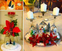 Christmas Wine Glass Snow Globes