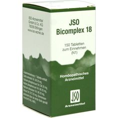 JSO BICOMPLEX Heilmittel Nr. 18:   Packungsinhalt: 150 St Tabletten PZN: 00544993 Hersteller: ISO-Arzneimittel GmbH & Co. KG Preis: 5,82…
