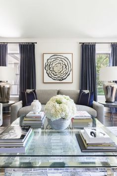 Navy and gray living room decor: http://www.stylemepretty.com/living/2016/12/15/did-one-of-these-10-dream-homes-inspire-you-in-2016/ Photography: Alyssa Rosenheck - http://alyssarosenheck.com/