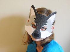 Wolf Tail and Mask// Fleece tail// Felt animal mask