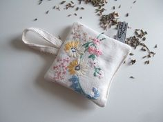 Vintage embroidery lavender bag with pastel flowers and Yorkshire lavender Contemporary Embroidery, Modern Embroidery, Vintage Embroidery, Embroidery Stitches, Embroidery Patterns, Lavender Bags, Muslin Bags, Pastel Flowers, Thread Work
