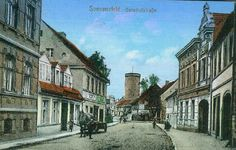 The high street of Sommerfeld in the 1930s when it was part of Prussia in Germany. This medieval town became Polish and renamed Lubsko in 1945.