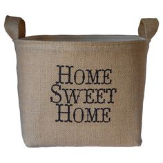 Bring rustic-chic style to your mudroom or foyer with this charming burlap and canvas storage bin. Showcasing a natural hue and whimsical typography, it's pe...