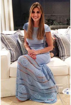 Vestido-Trico-Primavera-Longo-Azul-Jeans | Galeria Tricot - Galeria Tricot