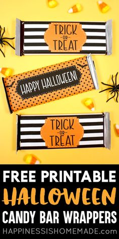 Free Printable Halloween Candy Bar Wrappers: Use these free printable Halloween Candy Bar Wrappers to create sweet Halloween treats for trick or treat! Use our Halloween candy wrappers to make fun gifts or party favors for friends teachers and co-workers! Halloween Candy Bar, Cute Halloween Treats, Halloween Party Favors, Diy Halloween Decorations, Halloween Gifts, Halloween Ideas, Happy Halloween, Halloween 2020, Halloween Cards