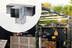Met dit pergola hoek element van verzinkt metaal maakt u een verlenging en dwarsstuk. Deze stalen Pergola hoekverbinding is geschikt om 3 palen te verbinden. Deze ijzeren hoek elementen zijn geschikt voor houten palen met de afmetingen tussen de 8,8 cm en 9 cm. Ook verkrijgbaar in 2-wegs verbinding voor een 90 graden hoek, T-verbinding (verlenging) en dubbele hoek. Pergola Designs, Grey Stone, Real Wood, Basic Colors, Summer Time, Beams, Lanterns, Color Schemes, Backyard