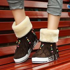 Womens Tassels Boots Pantshoes NEW Beads Thick Warm Ankle Boots Flat Shoes HOTawesome xams for teens.ebay seller