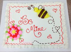 Valentine's cake design - My buttercream creations - Cakes - disegno della torta Valentines Bakery, Valentines Day Desserts, Valentine Cookies, Valentine Decorations, Cupcakes, Cupcake Cakes, Cookie Cakes, Carvel Cakes, Sheet Cakes Decorated