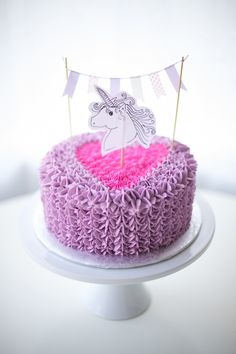 ruffle heart cake unicorn cake topper - coco cake land