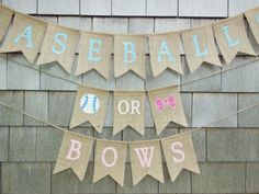 Baseballs Or Bows Gender Reveal, Baseballs or Bows Banner, Gender Reveal Party Decor, Gender Reveal Banner, Boy Or Girl Baby Shower Banner by IchabodsImagination on Etsy https://www.etsy.com/listing/385124344/baseballs-or-bows-gender-reveal