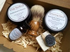 Mens Shaving Kit Box, Mens Grooming Shaving Kit, Fathersday Shaving Box, by MYMIMISTAR on Etsy