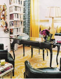 Celerie Kemble office- yellow is possibly the happiest color of all