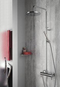 Hotbath SDS 1 thermostatische stortdoucheset Buddy geborsteld nikkel staafmodel handdouche en hoofddouche 20cm - SDS1GN-S-W-20cm - Sanitairwinkel.nl