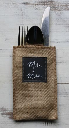 Chalkboard Burlap Silverware Holder - 100