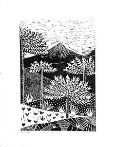 Hand-carved woodcut print and wall landscapes decor Nature Prints, Art Nature, Wood Cut, Nature Drawing, Cecile, Japanese Paper, Process Art, Wood Engraving, Pattern Art