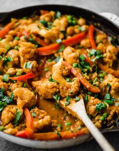 Flavorful Thai peanut coconut cauliflower chickpea curry is packed with bold flavors and plant-based protein. Make this cozy, vegetarian dish in one pan for the perfect weekday meal! - The Most Healthy Foods Vegan Dinner Recipes, Healthy Recipes, Curry Recipes, Vegan Dinners, Veggie Recipes, Indian Food Recipes, Whole Food Recipes, Cooking Recipes, Thai Vegetarian Recipes