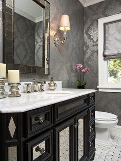 Half Bathroom or Powder Room HGTV: Photos Hgtv. Bathroom Wallpaper Ideas That Will Elevate Your Space To. Grey Bathrooms, Beautiful Bathrooms, Modern Bathroom, Bathroom Interior, Minimalist Bathroom, Bathroom Furniture, Silver Bathroom, Bathroom Black, Design Bathroom