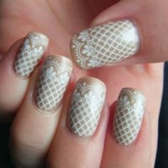 Wedding Manicure  white lace nail art!!!!!! Love love love! I'm totally doing something like this!