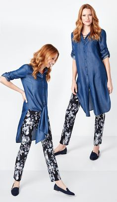 Tied up or worn down our Chambray Blouse is a showstopper of style! We love it with our Floral Ankle Pant. Chambray Tunic, Ankle Pants, Harem Pants, Tie, Denim, Blouse, Floral, Casual, Fabric