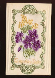 TO MY Dear Sister Flowers Embroidered WW1 Silk Postcard GGG75 | eBay