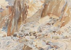 Carrara: Quarry I    -    John Singer Sargent  ,  1911  American , 1856-1925  Watercolor over graphite pencil, with wax resist on paper, 35.6 x 50.2 cm (14 x 19 ¾ in.)