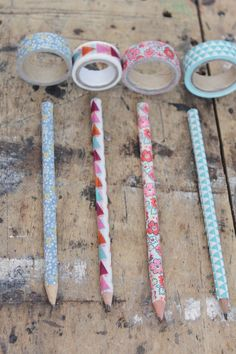 Cover your pencils in washi tape for a pop of colour! Tutorial by Hester's Handmade Home