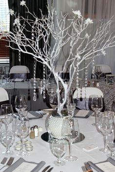 black gray and bling wedding | Manzanita centerpiece, Grey Silver White bling wedding theme. Contact ...