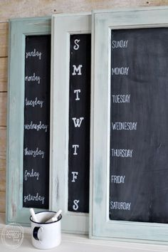 What a great way to reuse an old cabinet door!  Includes an easy way to paint perfect letters.