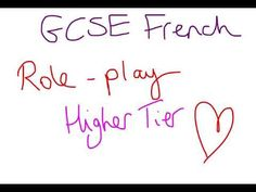 GCSE French Role Play Higher Tier Gcse French, Role Play