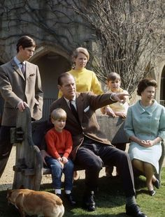 Prince Charles, Prince Edward, Prince Philip, Princess Anne, Prince Andrew and Queen Elizabeth II
