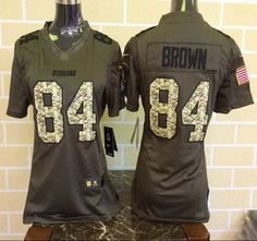 Women s Pittsburgh Steelers Jersey 84 Antonio Brown Green Salute to Service  2015 NFL Nike Limited Jerseys e8ee0018a