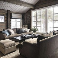 Love the furniture arrangement by the big window Rustic House, Cottage Inspiration, Cabin Interiors, Furniture, Home, Interior, Cabin Decor, Furniture Arrangement, Cozy House