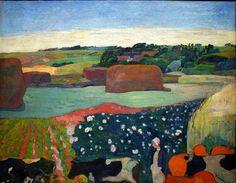 Paul Gauguin, Haystacks in Brittany, 1890 on ArtStack #paul-gauguin #art